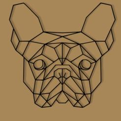 bulldog.png Télécharger fichier STL DÉCORATION MURALE DE LA TÊTE DE BOULEDOGUE FRANÇAIS À GÉOMÉTRIE BASSE • Design à imprimer en 3D, 3DMARKED