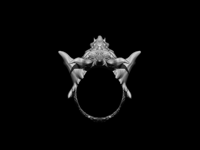 BPR_Render.jpg Download STL file Demon Skull Ring • 3D printer design, Kraken1983