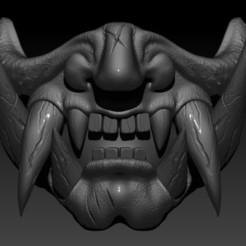 Mascara Japonesa Demonio cortes Batalla f.jpg Télécharger fichier STL Masque Samouraï Combat de démons • Modèle imprimable en 3D, Kraken1983