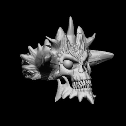 BPR_Render4.jpg Download STL file Demon Skull Ring • 3D printer design, Kraken1983