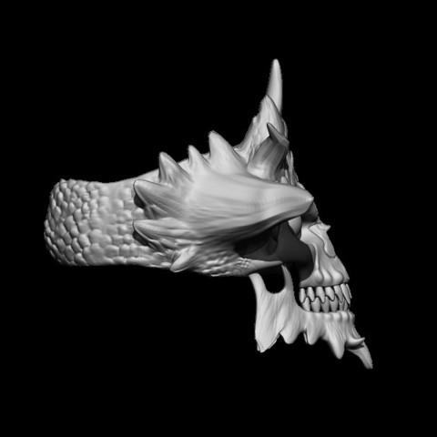BPR_Render2.jpg Download STL file Demon Skull Ring • 3D printer design, Kraken1983