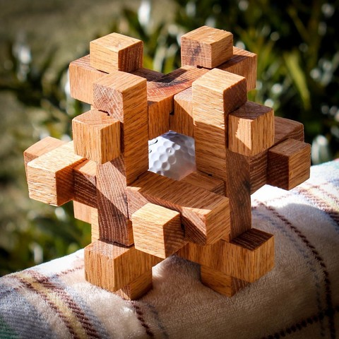 Download Free 3d Printer Templates Caged Golf Ball Puzzle Cults