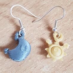 3d printer designs Earrings Pendantes - Mario Soleil et Lune, yalcars