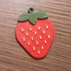 Free STL Strawberry keychain, Giara