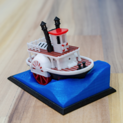 Free Old paddle-wheel steam boat with display stand (visual benchy) STL file, vandragon_de