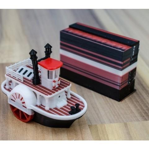 82be800a57d16781daf12abe1e93ca7f_preview_featured.jpg Télécharger fichier STL gratuit Ancien bateau à vapeur à roue à aubes avec présentoir (banc visuel) • Design pour imprimante 3D, vandragon_de