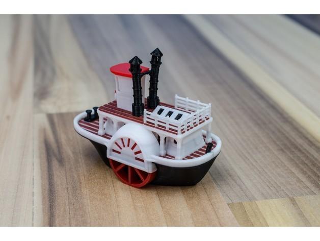 635ab1d2f2b2a5d5fdb078e13e7cb9ce_preview_featured.jpg Télécharger fichier STL gratuit Ancien bateau à vapeur à roue à aubes avec présentoir (banc visuel) • Design pour imprimante 3D, vandragon_de