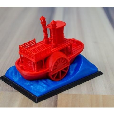 cea87fc3e1cd5188910dcf84e75f5740_preview_featured.jpg Télécharger fichier STL gratuit Ancien bateau à vapeur à roue à aubes avec présentoir (banc visuel) • Design pour imprimante 3D, vandragon_de