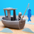 Free STL files LEO the little fishing boat (visual benchy), vandragon_de