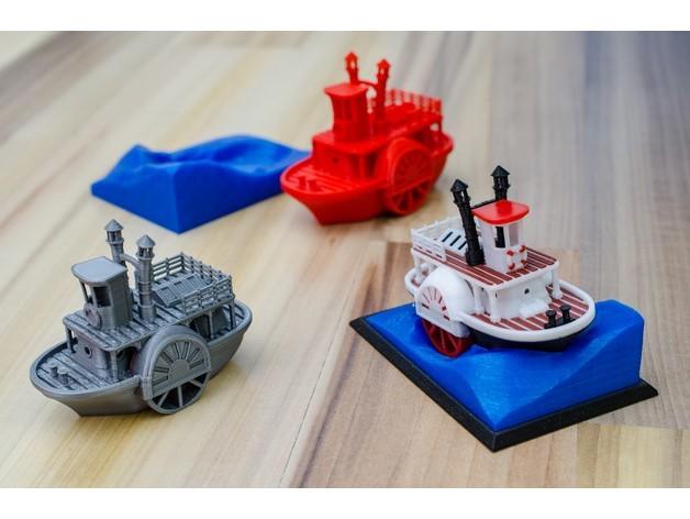 4463b4358b7854b7780ebe6cee1f37b8_preview_featured.jpg Télécharger fichier STL gratuit Ancien bateau à vapeur à roue à aubes avec présentoir (banc visuel) • Design pour imprimante 3D, vandragon_de