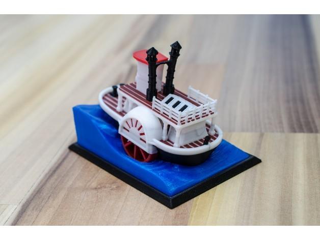 2cbb13688751f604074fe2b416a4e5d6_preview_featured.jpg Télécharger fichier STL gratuit Ancien bateau à vapeur à roue à aubes avec présentoir (banc visuel) • Design pour imprimante 3D, vandragon_de