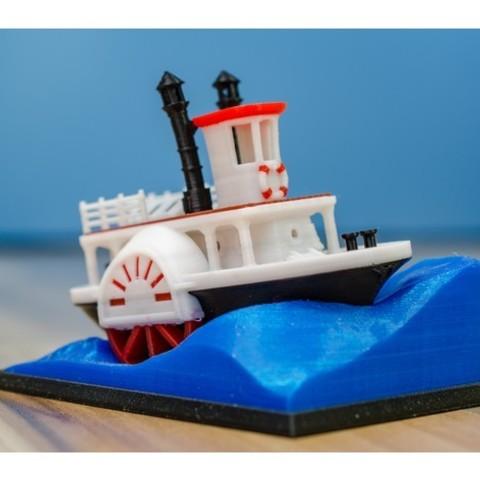 81c9edbbc8deb6cde11bf60827533000_preview_featured.jpg Télécharger fichier STL gratuit Ancien bateau à vapeur à roue à aubes avec présentoir (banc visuel) • Design pour imprimante 3D, vandragon_de