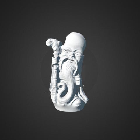 Free 3D printer designs Netsuke figure - old man carrying a stick, AucklandMuseum