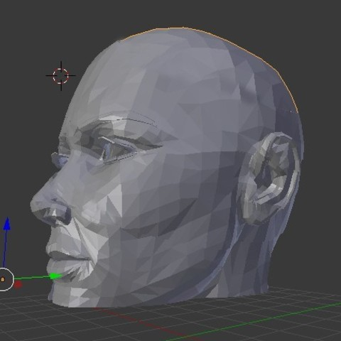 Free head low poly 3D printer file, juanpix