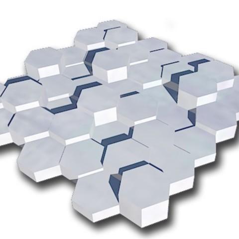 plaque exago.jpg Télécharger fichier STL gratuit plaque murale décorative exagonale • Objet à imprimer en 3D, juanpix