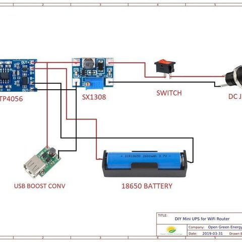 Download free 3D printer templates DIY Mini UPS for WiFi Router