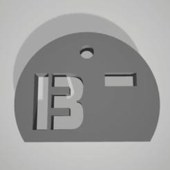 b-.png Télécharger fichier STL key chain pendant blood group rhesus B- • Objet pour impression 3D, 3D-XYZ
