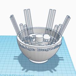 Impresiones 3D tazón de fuente palillos, 3d-3d-3d