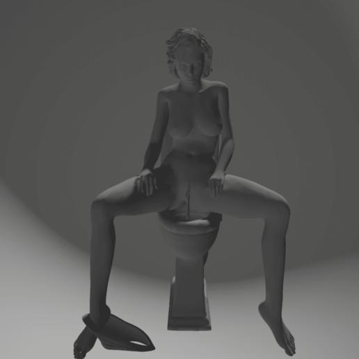 Download 3D model woman pee on toilet, 3d-3d-3d