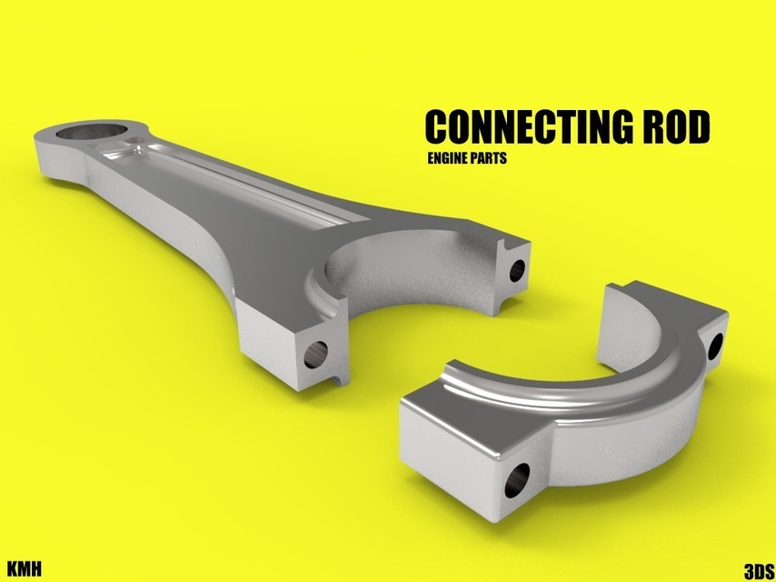 connecting rod two parts.jpg Download STL file connecting rod car engine components • 3D printer template, kasraoui