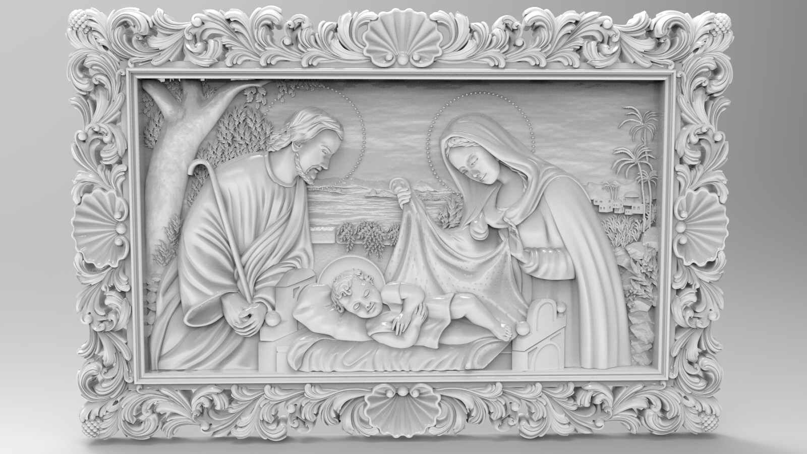 68_BirthOFJRK.png Download free STL file Birth of jesus wall art 3d stl models for artcam and aspire • 3D printing design, Isu45-3dmodels