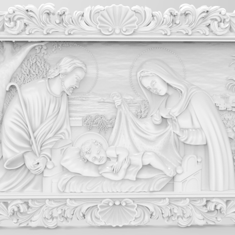 Free STL files Birth of jesus wall art 3d stl models for artcam and aspire, Isu45-3dmodels