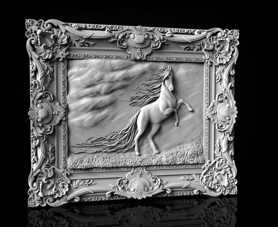 Horse in Frame 3D STL Model Updated.jpg Download free STL file Horse in frame 3d stl models for artcam and aspire • 3D printable model, Isu45-3dmodels