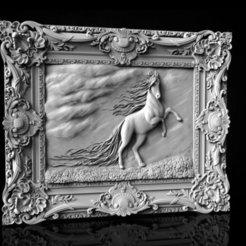 Horse in Frame 3D STL Model Updated.jpg Download free STL file Horse in frame 3d stl models for artcam and aspire • 3D printable model, Isu45-3dmodels