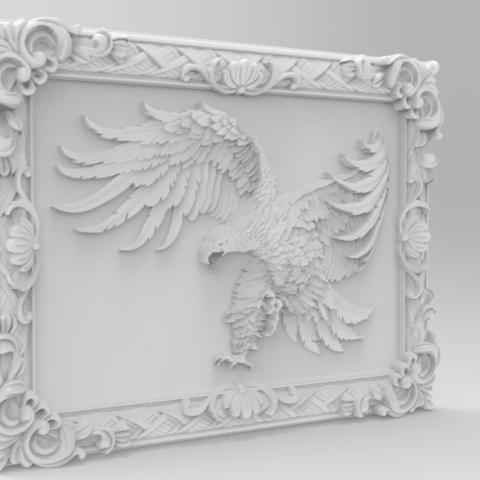 Eagle framed-2.png Download free STL file Eagle framed wall art 3d stl models for artcam and aspire • Model to 3D print, Isu45-3dmodels