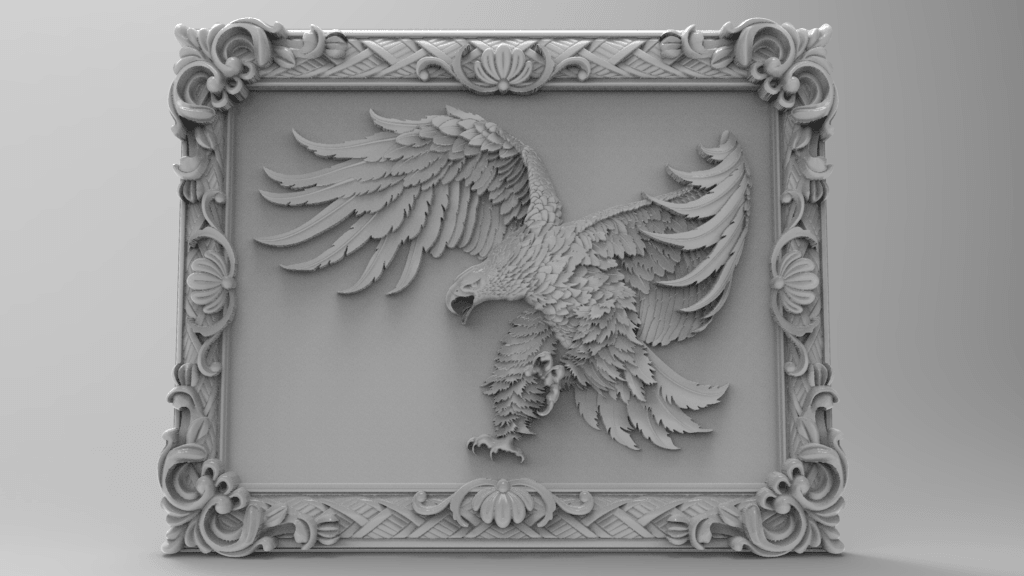 Eagle framed-1.png Download free STL file Eagle framed wall art 3d stl models for artcam and aspire • Model to 3D print, Isu45-3dmodels