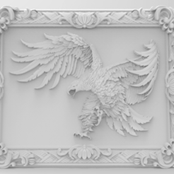 Eagle framed-1.png Télécharger fichier STL gratuit Eagle framed wall art 3d stl models for artcam and aspire • Plan pour impression 3D, Isu45-3dmodels