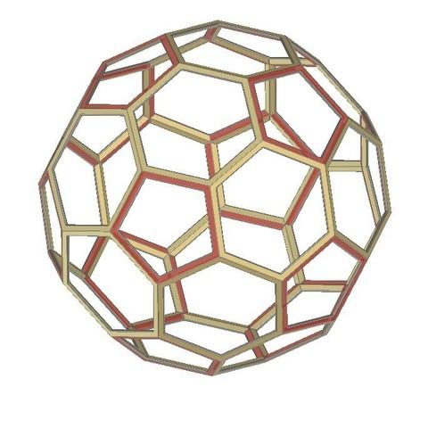 Download free STL files Buckyball, Truncated Icosahedron, Soccer Ball, C60, LGBU
