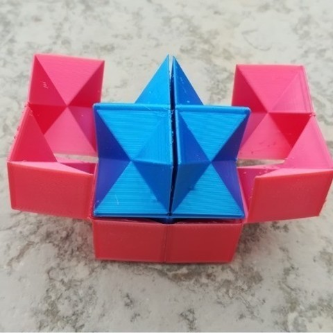 Free STL Twin Spiky Stellated Dodecahedron, Infinity Cube, Magic Cube, Flexible Cube, Folding Cube, Yoshimoto Cube for for Flexible Filament Printing, LGBU