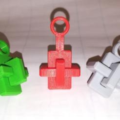 Free STL Key chain Knot Cross Puzzle, OCC, Three Pieces, Kong Ming Lock, LGBU