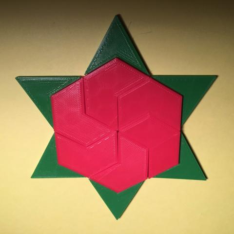 Capture d'écran 2017-12-26 à 15.10.34.png Download free STL file Hexagram, Hexagonal Star, Hexagon Puzzle • 3D printing model, LGBU