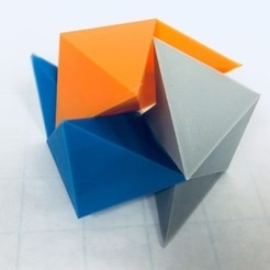 Free stl files Cube Dissection, Robert Reid, Three-Piece Puzzle, Liu Hui Cube Extension, LGBU