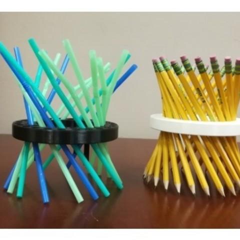 fe7d8da228fbb75bd6af5a06240c5d1e_preview_featured.jpg Download free STL file Math Teachers' Pencil/Straw Holder/ Stand, Hyperboloid, Ruled Surface • 3D printing template, LGBU