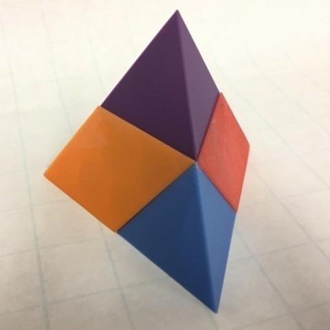 Fichier impression 3D gratuit Tétraèdre, Puzzle, Pyramide triangulaire, Dissection, Quatre Pentaèdres., LGBU