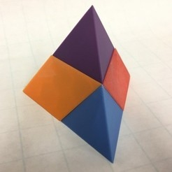 Free 3d print files Tetrahedron, Puzzle, Triangular Pyramid, Dissection, Four Pentahedra, LGBU