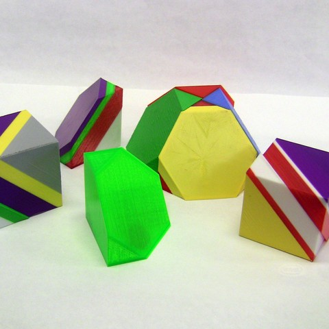 Free stl Math Puzzle: Cube Hexagonal Dissection, LGBU