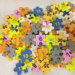 Download free 3D printer files Jigsaw Number Pieces, Puzzle, Sequences, Math Patterns, LGBU
