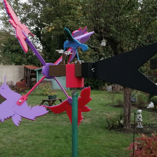 Download free STL file Hummingbird Whirligig • 3D printable design, Sparky6548