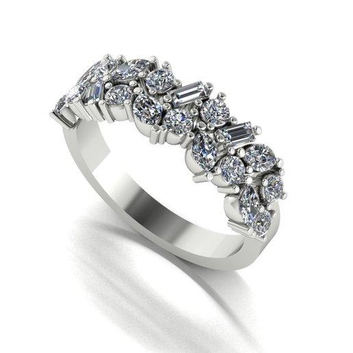 Descargar modelo 3D anillo Marquiz, baguet,   Diamantes   , Luis36