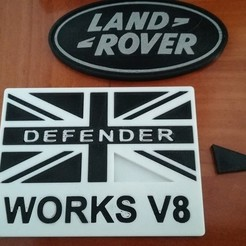 Free 3D printer files Land Rover Works V8 badge, lulu3Dbuilder