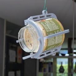 Download free STL file Birdfeeder frame peanutbutter jar III • 3D printer design, GrazingSnail