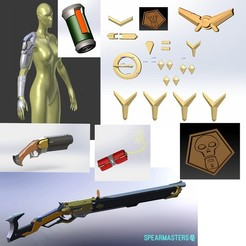 STL file Ashe vanila rifle armor full set overwatch , geck