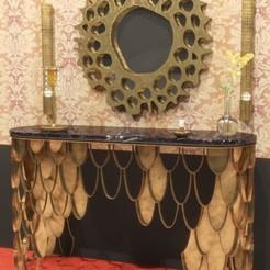 modèle 3d table classique avec miroir (consul), saeedpeyda