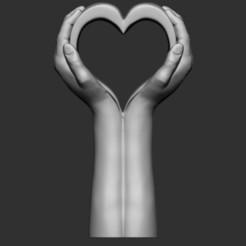 3D print model hand heart statue, saeedpeyda