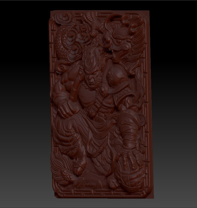 MonkeyKing3.jpg Download free OBJ file monkey king 3d model of bas-relief for cnc • 3D printing model, stlfilesfree