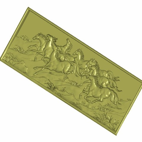eight_horse5.jpg Download free STL file horses background wall relief 3d model • Object to 3D print, stlfilesfree